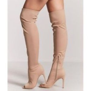 Forever 21 Nude Stretch Over The Knee Boots